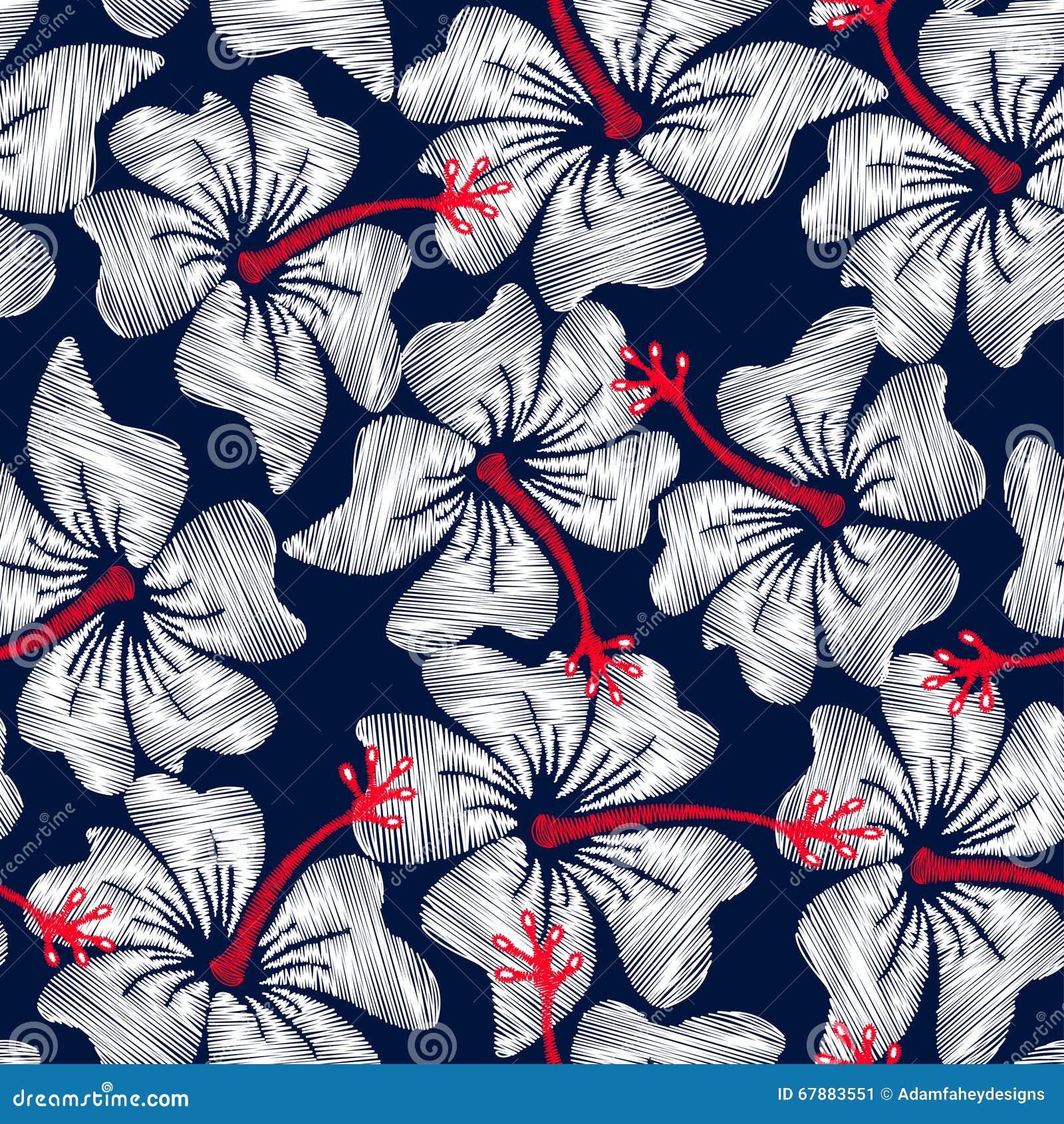白色木槿热带刺绣花卉无缝的样式