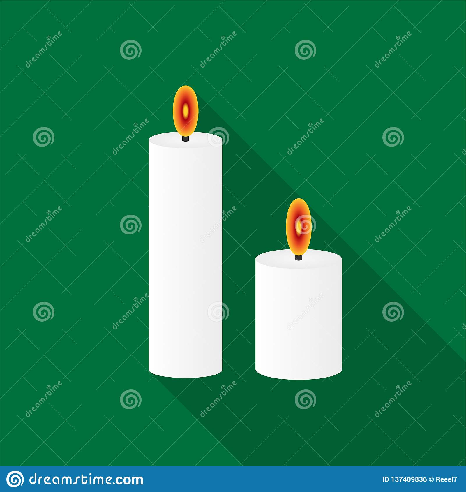 白色灼烧的蜡烛与长的阴影的象在绿色背景