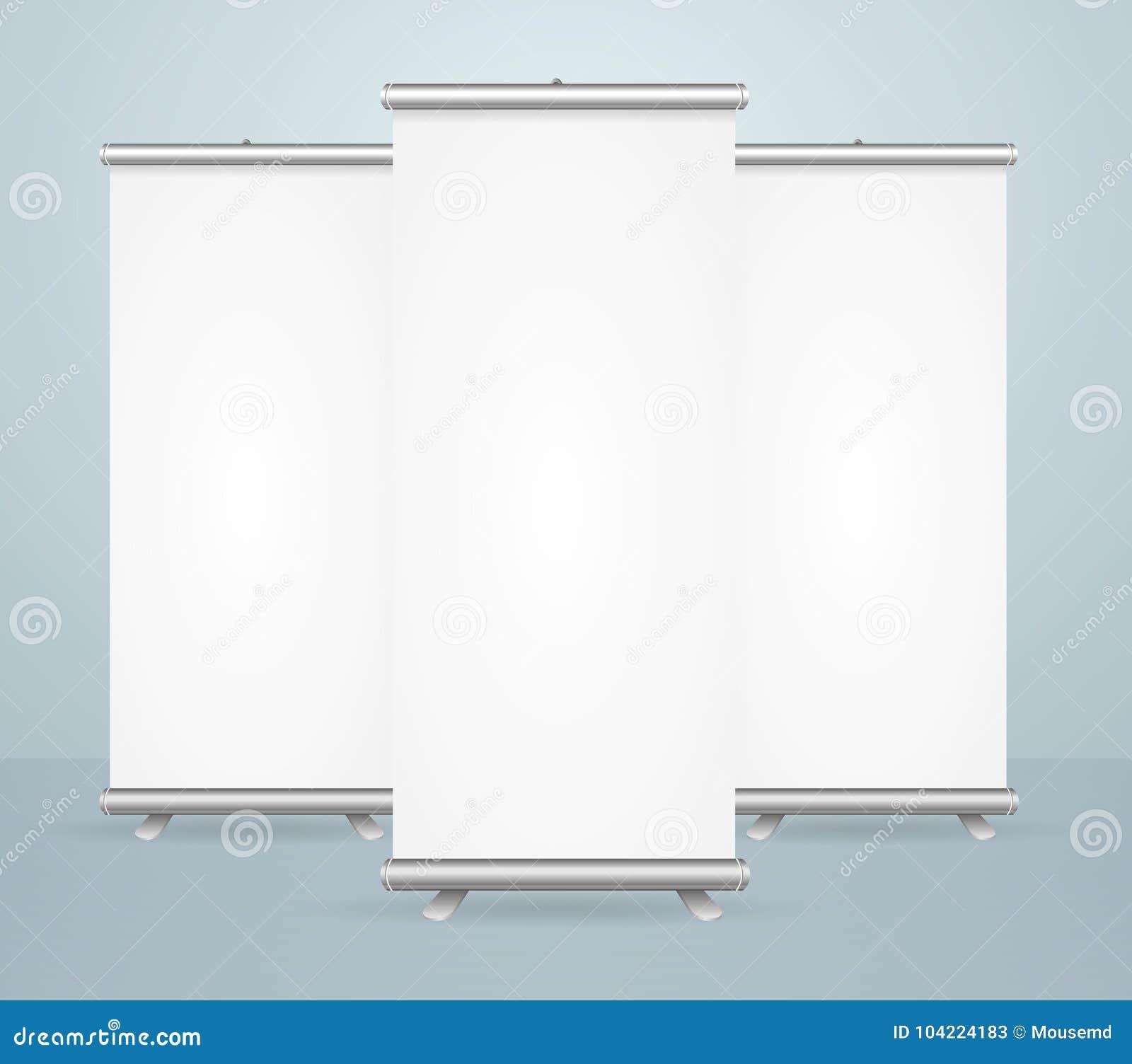 白色现实详细的3d模板的空白卷起横幅设置的立场嘲笑 向量