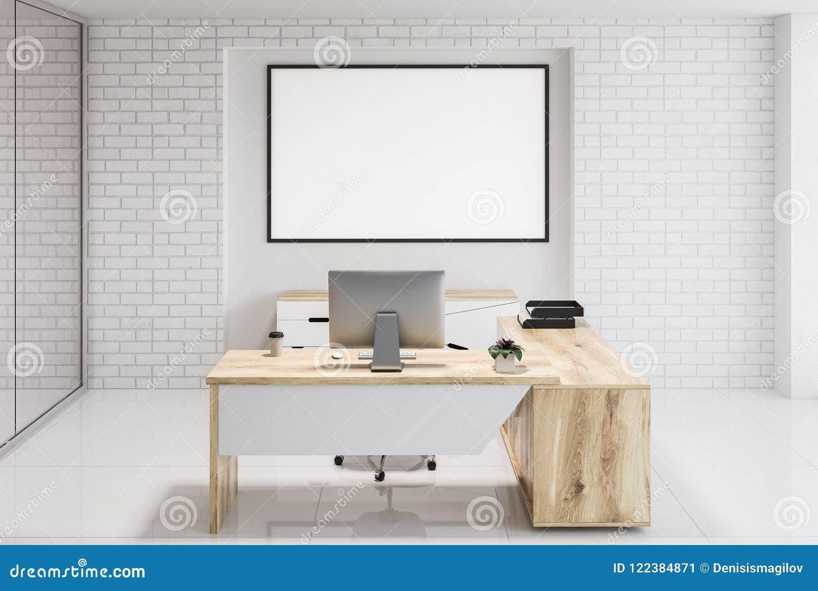 白色砖现代办公室工作场所,横幅