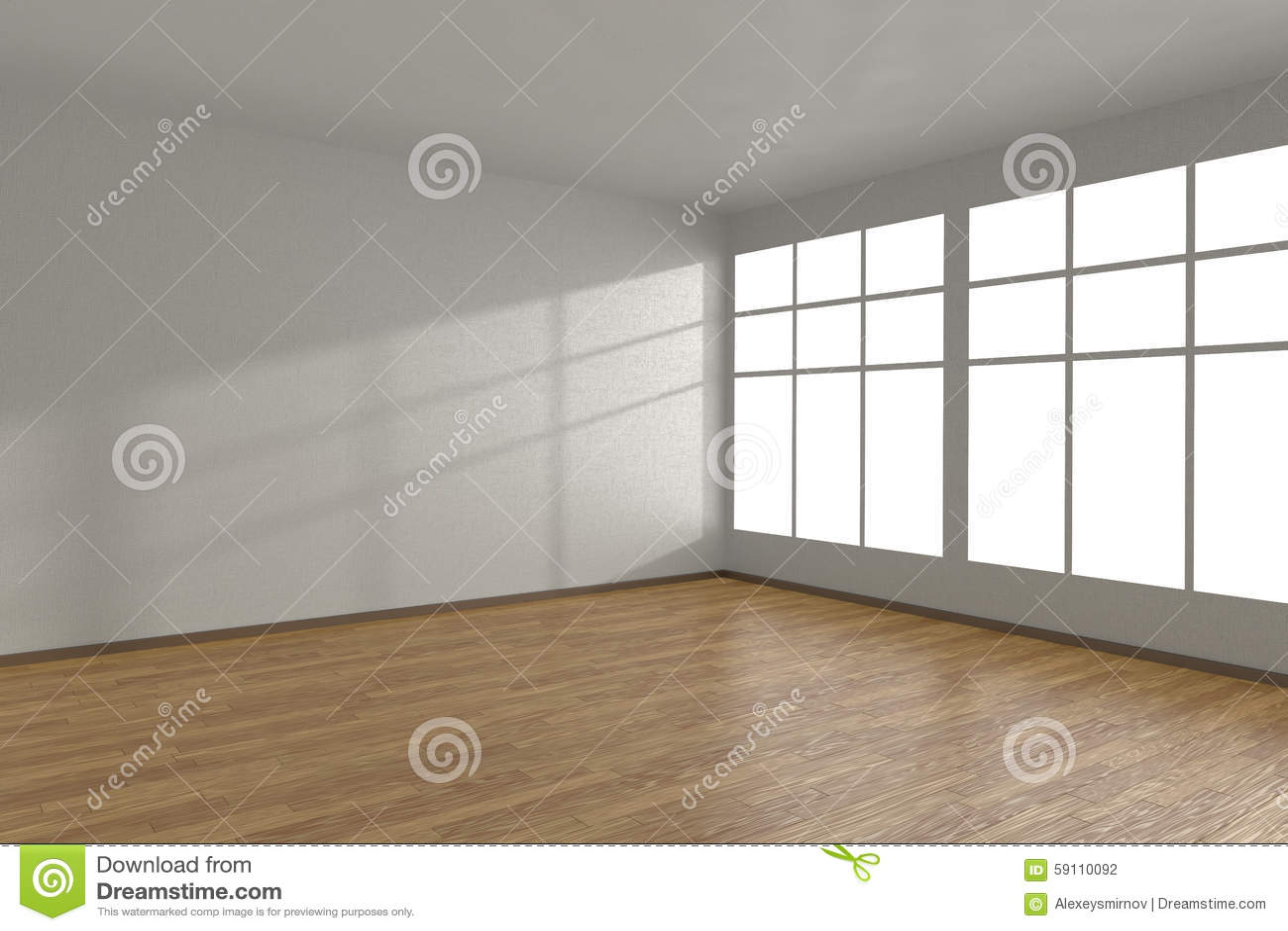 白色空的室的角落有大窗口的