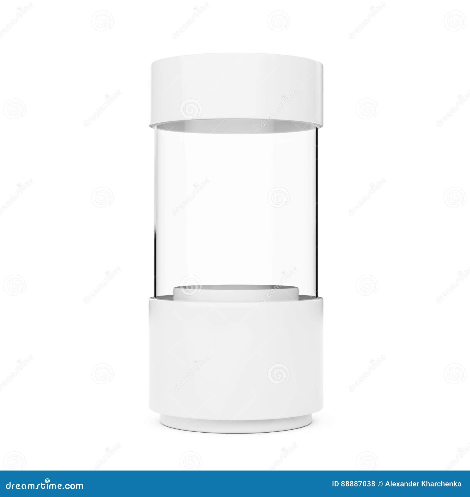 白色空的玻璃商店陈列室圆筒 3d翻译
