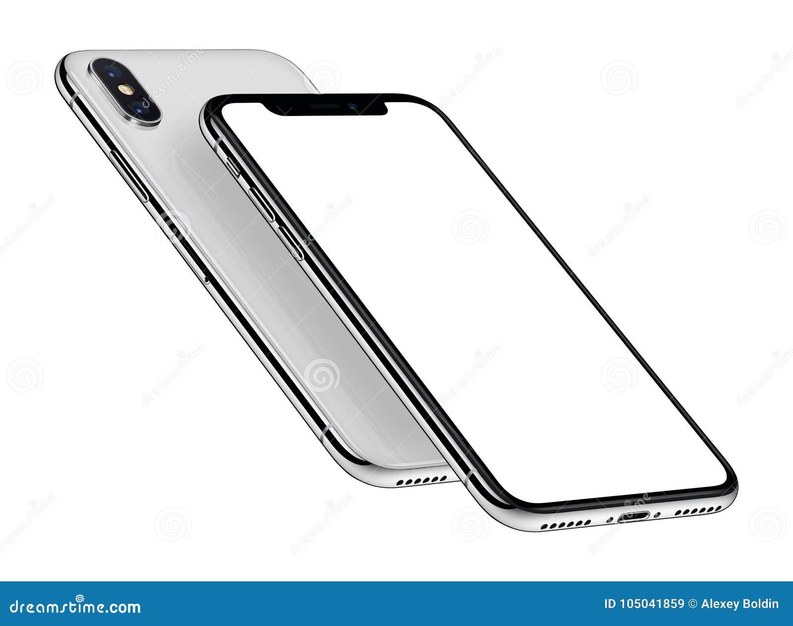 白色等量在其他上的智能手机大模型前面和后部一
