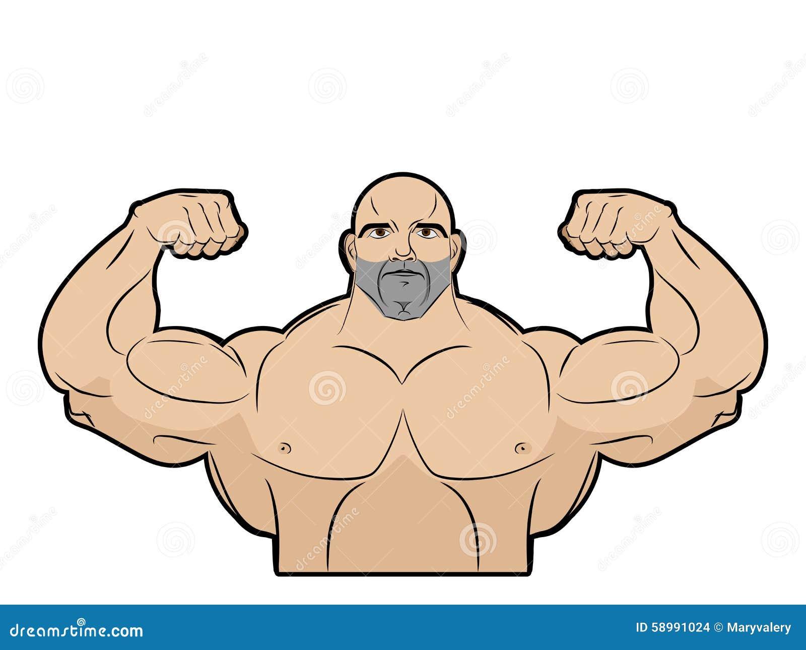 白色背景的爱好健美者 有大肌肉的运动员 重婚图片