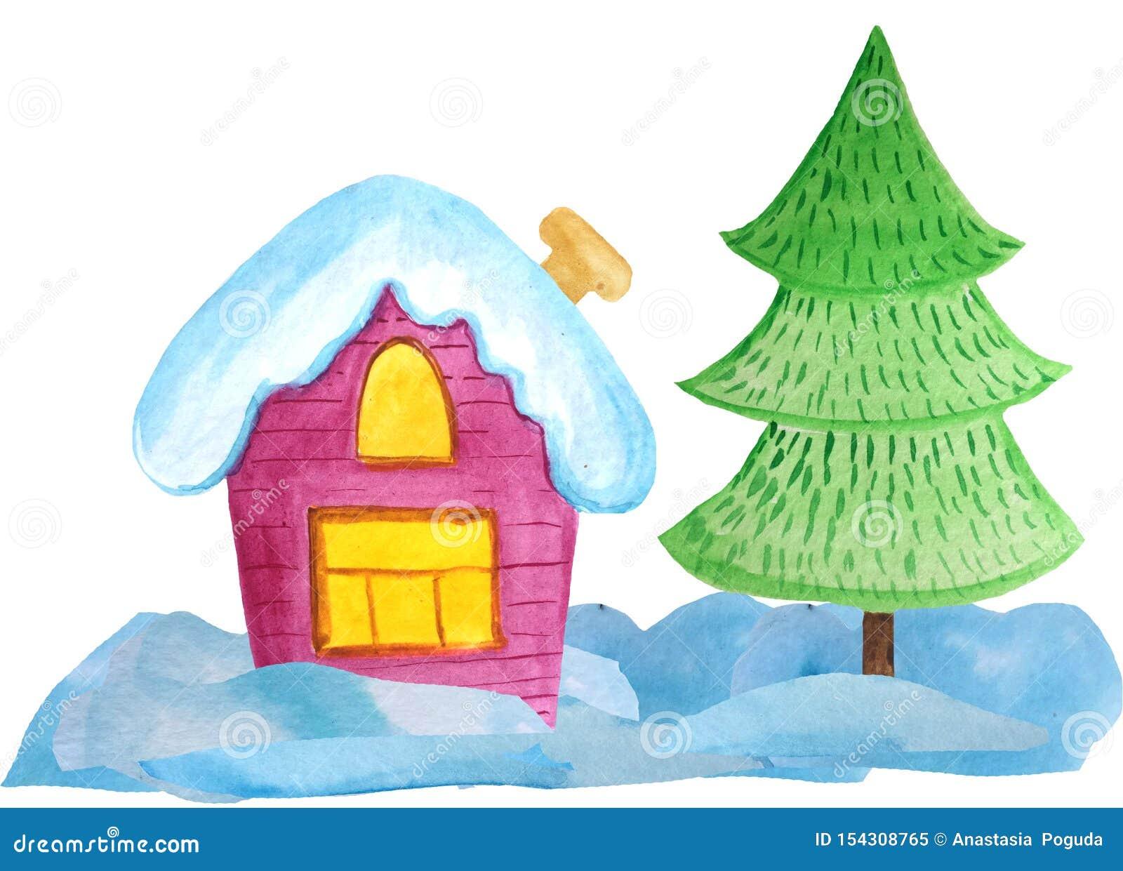 白色背景的舒适圣诞节房子 海报的,横幅水彩例证 invitation new year