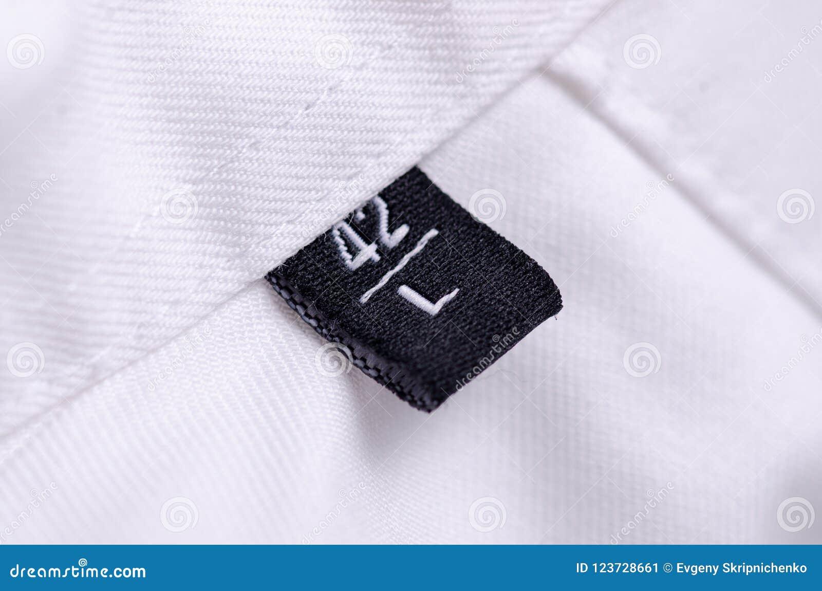 白色衬衣宏观标记大小L