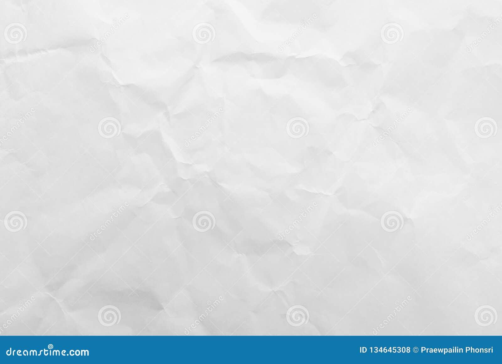 白色被弄皱的纸纹理背景 特写镜头
