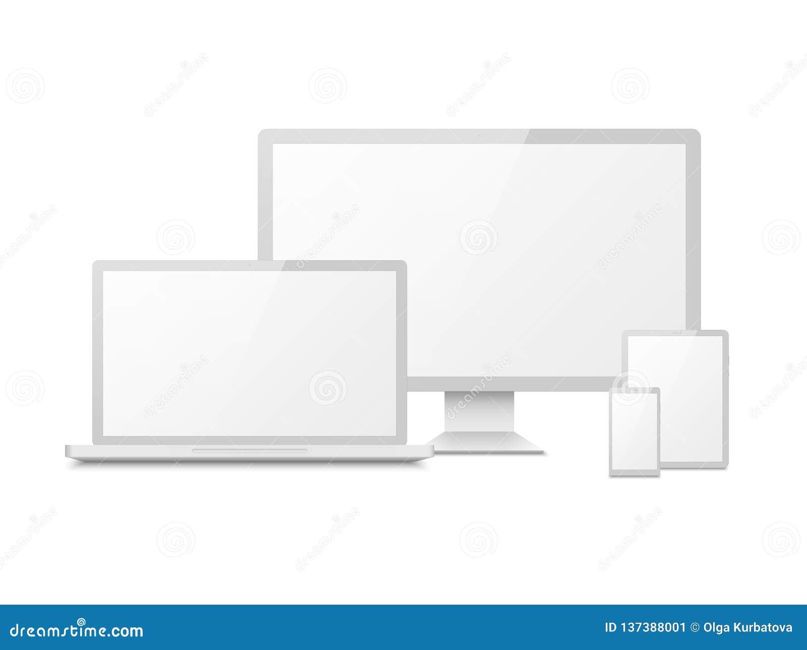 白色设备大模型 片剂膝上型计算机智能手机屏幕计算机个人计算机显示 3d电子触摸屏幕多媒体设备