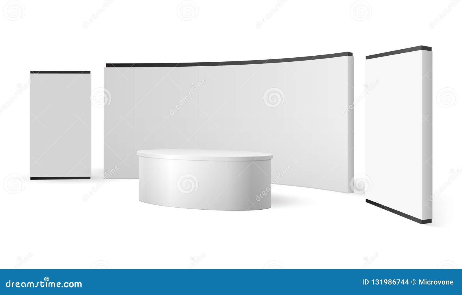 白色陈列立场 空白的商业展览摊增进显示 事件盘区传染媒介3d隔绝了模板
