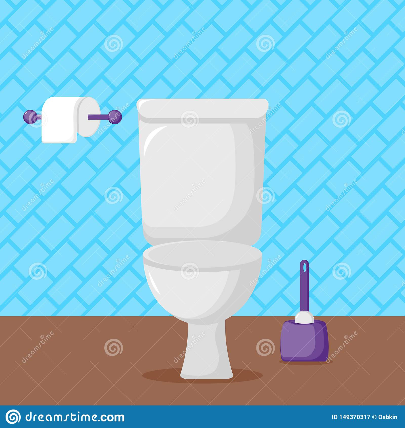 白色陶瓷洗手间、手纸和刷子
