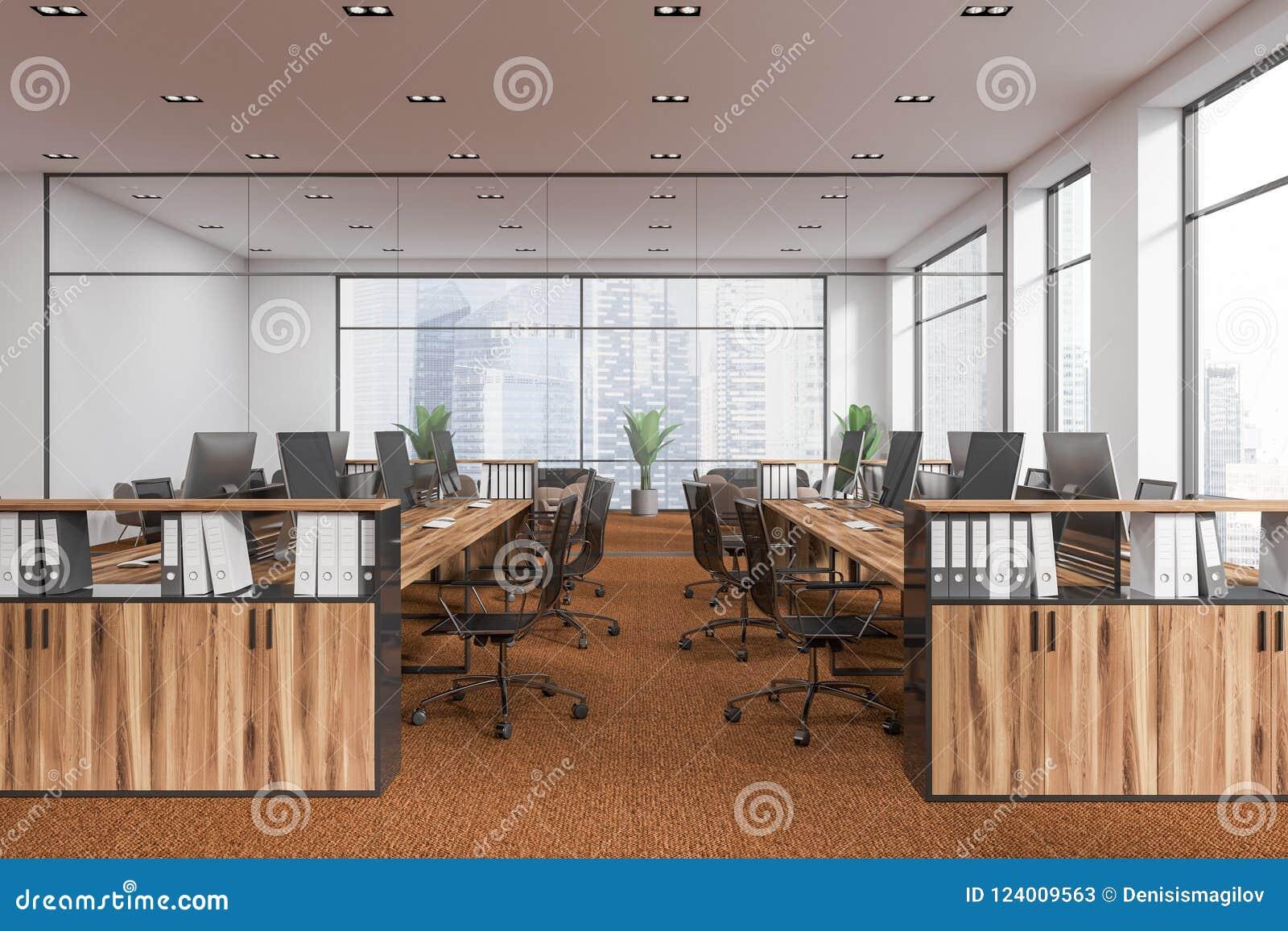 白色露天场所办公室,棕色地板侧视图