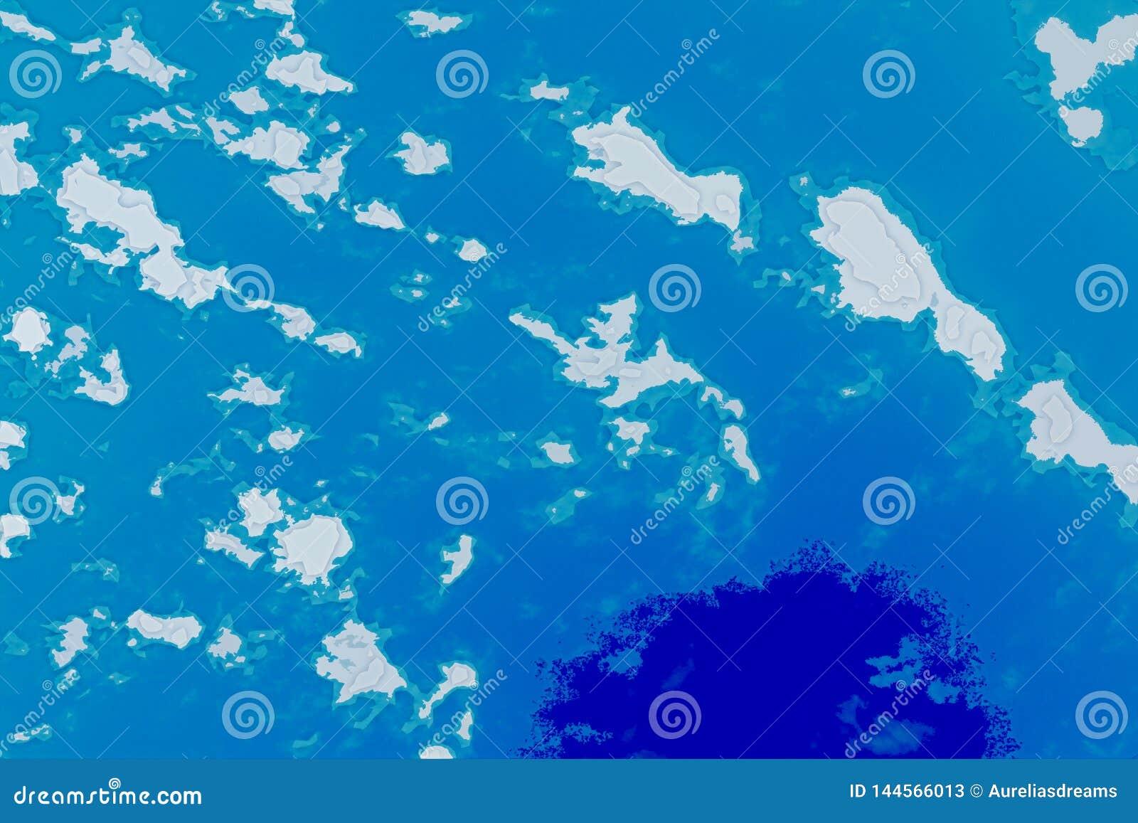 白色,蓝色和深蓝背景纹理 与北部海岸线,海,海洋,冰,山,云彩的抽象地图