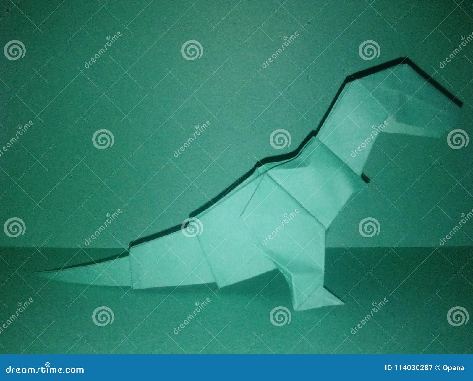 白色origami恐龙t雷克斯纸艺术