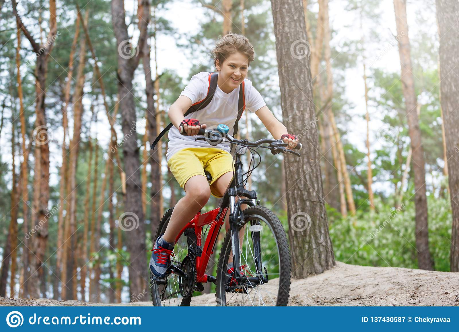 白色T恤杉的儿童少年和在自行车乘驾的黄色短裤在森林里在春天或夏天 愉快微笑的男孩循环室外