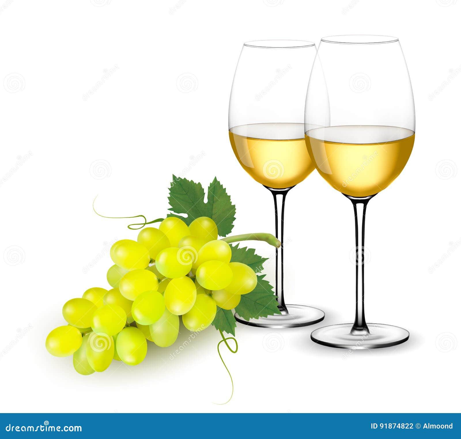 白葡萄酒玻璃和葡萄