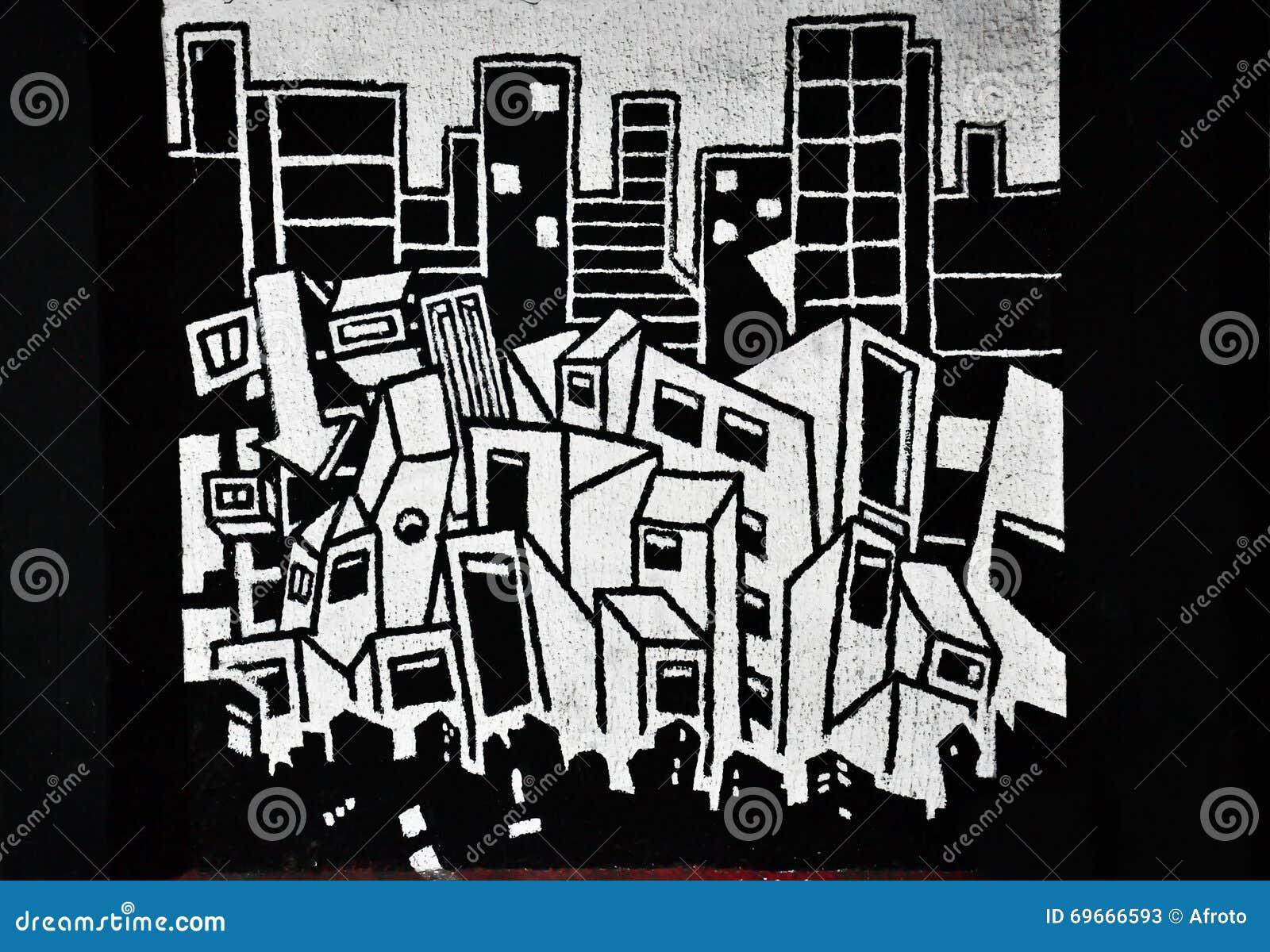 黑白街道画