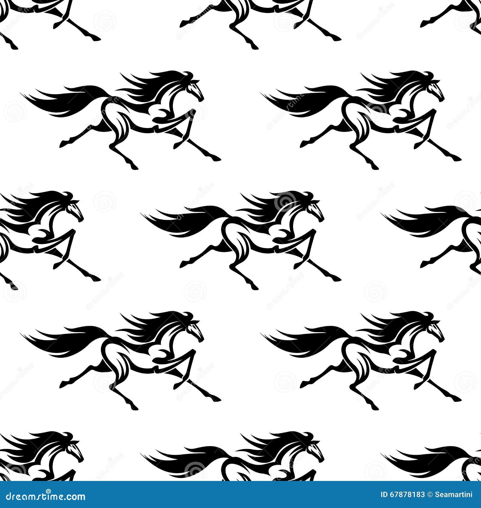 黑白马无缝的样式