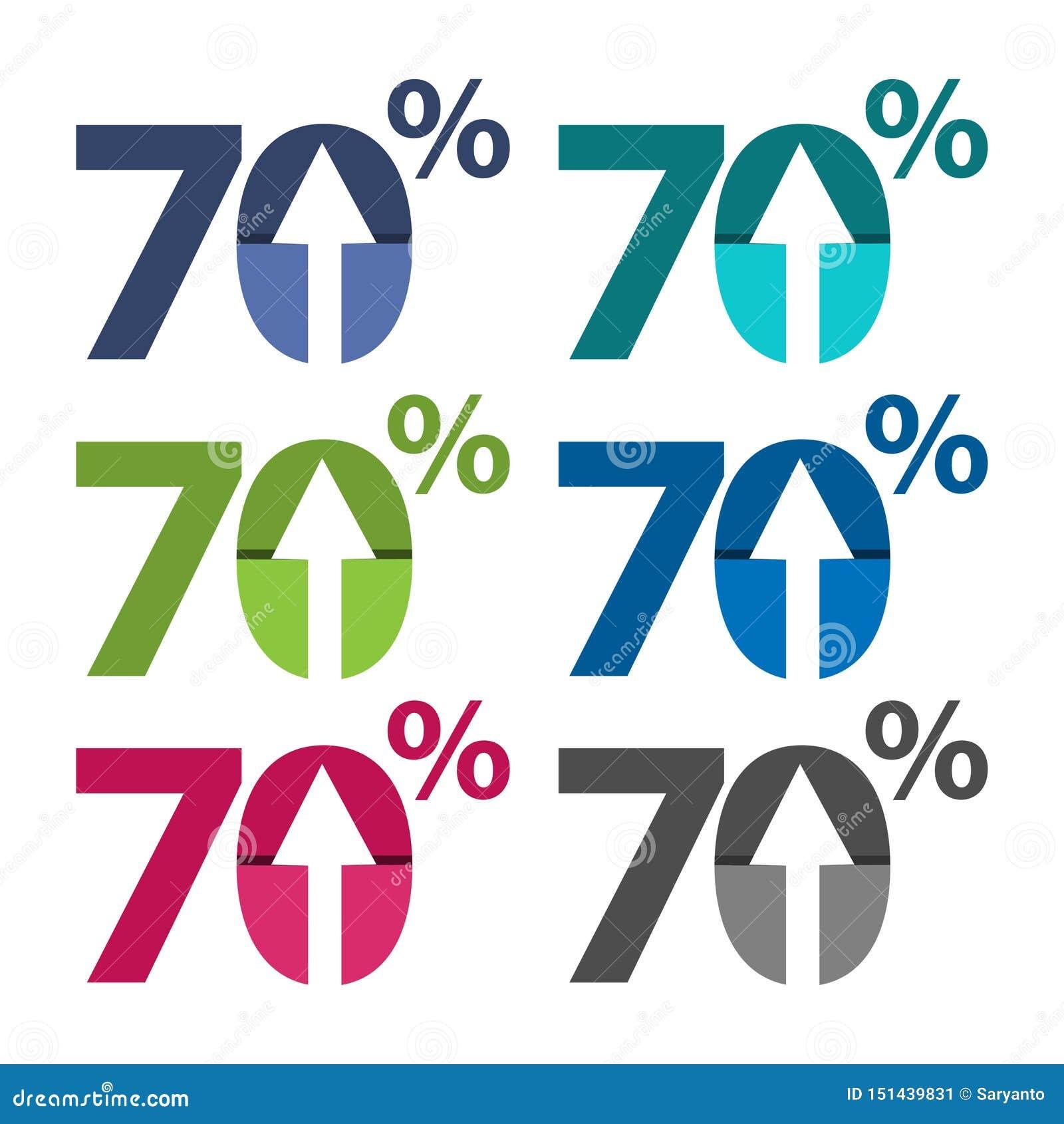 百分之七十,向上箭头例证
