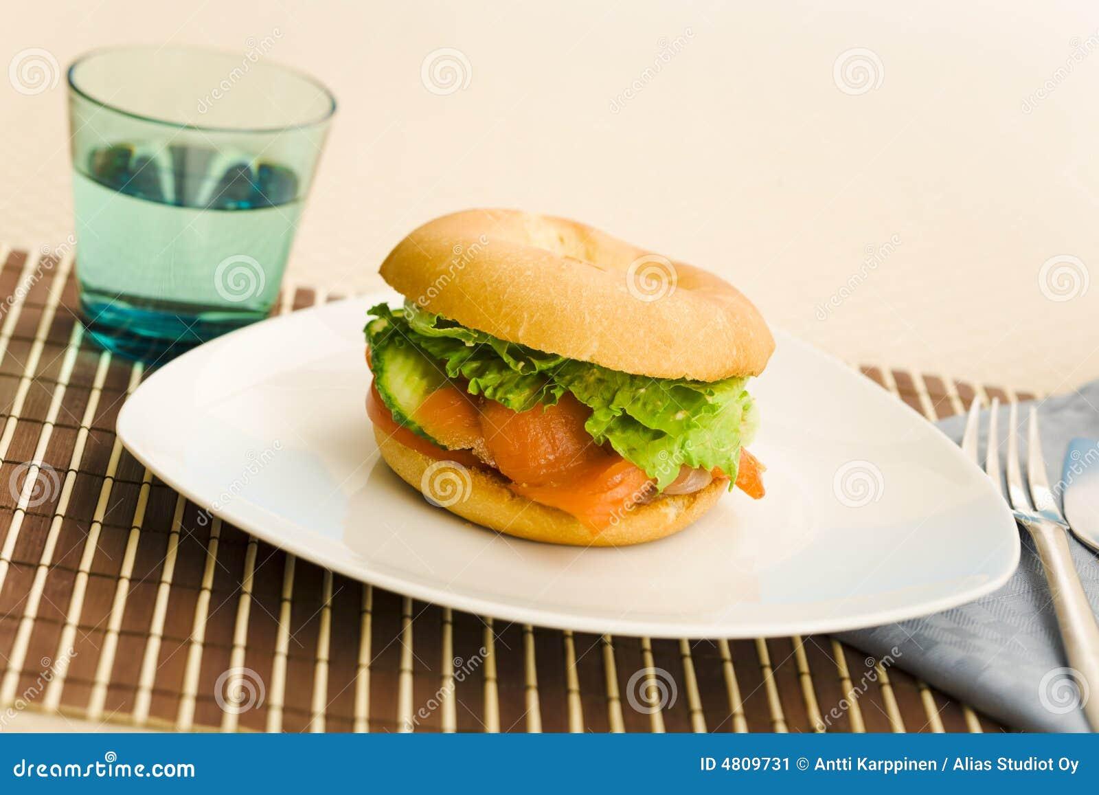 百吉卷早餐三文鱼