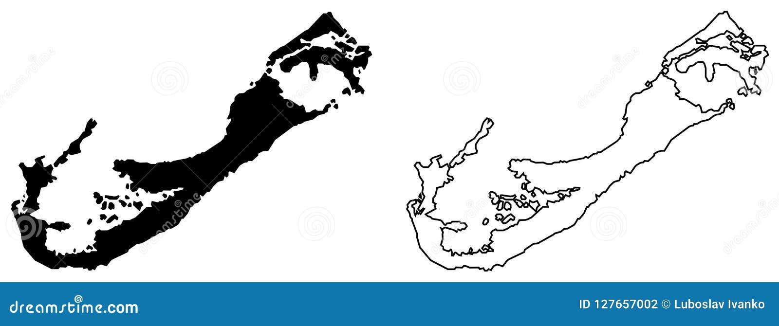百慕大传染媒介图画仅简单的锋利的角落地图  木鲁旰