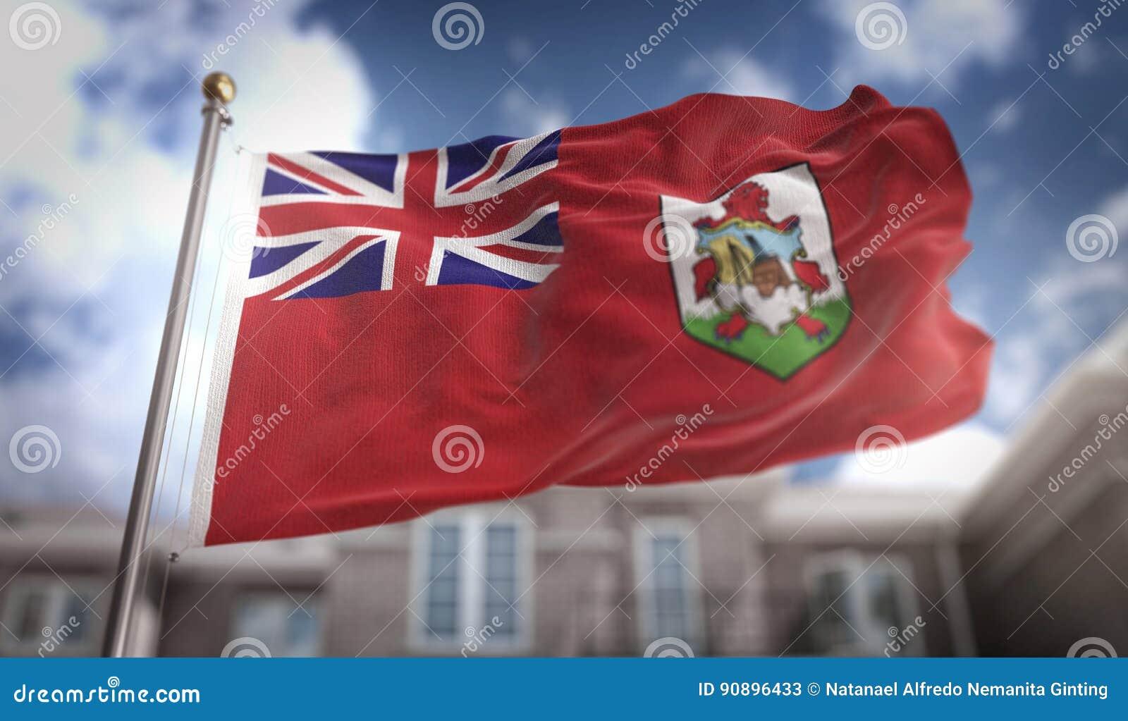 百慕大在蓝天大厦背景的旗子3D翻译