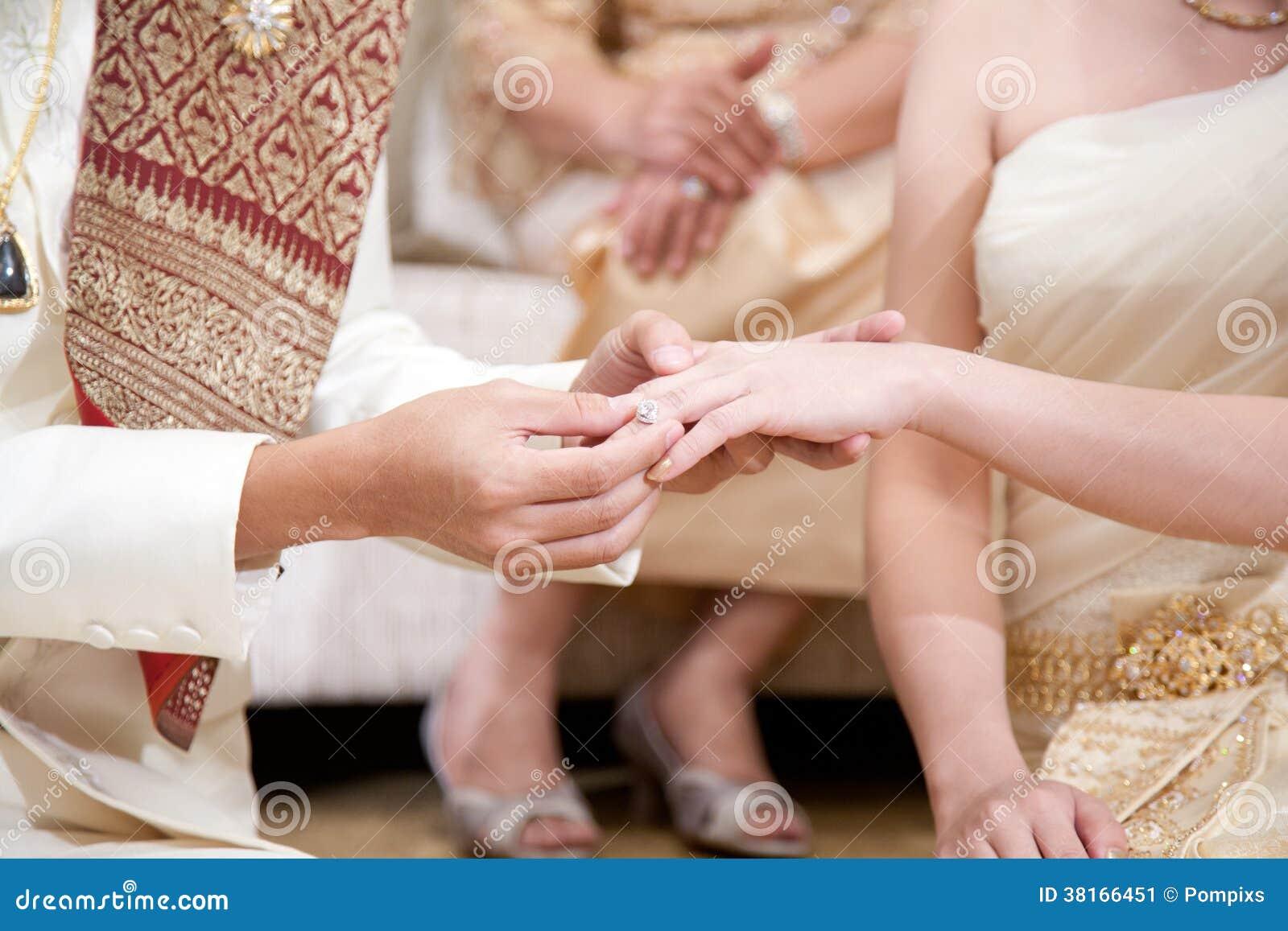 他的新娘的新郎佩带的婚戒