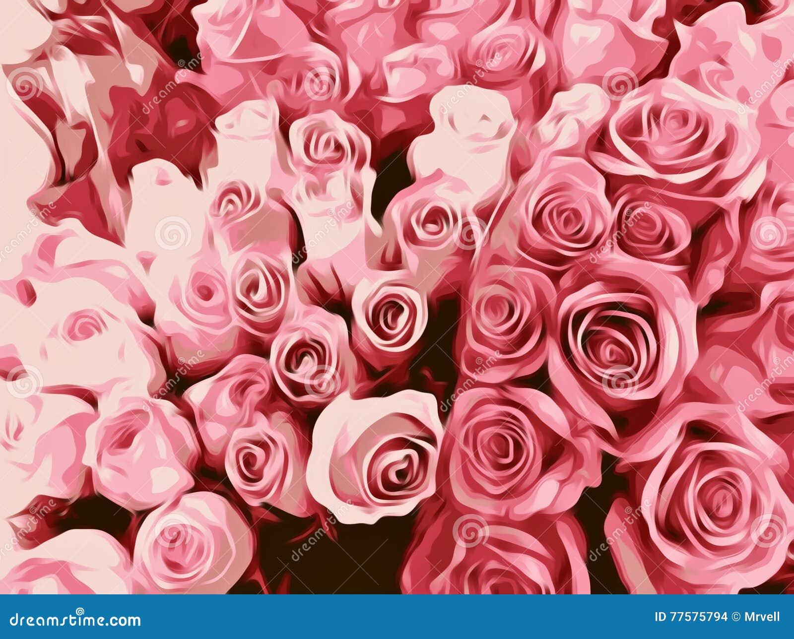绘的新桃红色玫瑰纹理