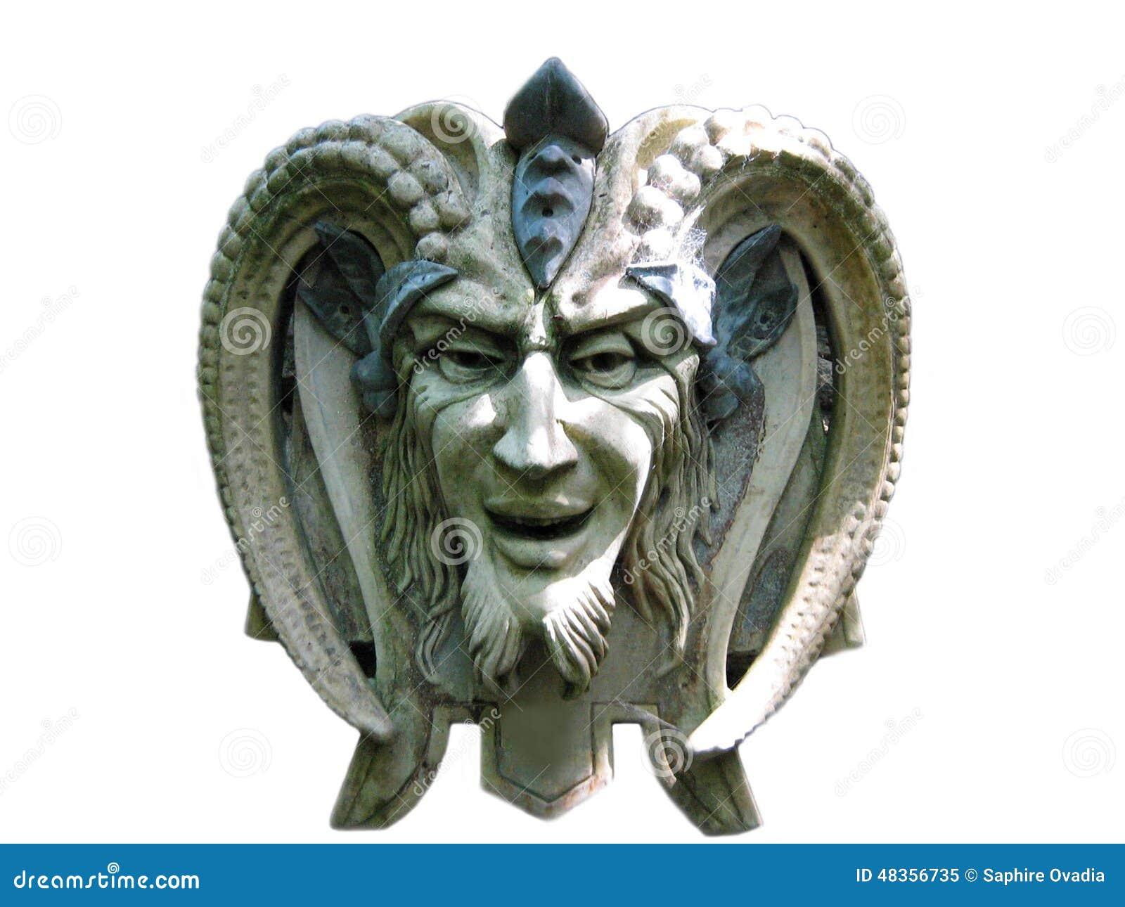 恶魔或撒旦的雕塑的建筑学.