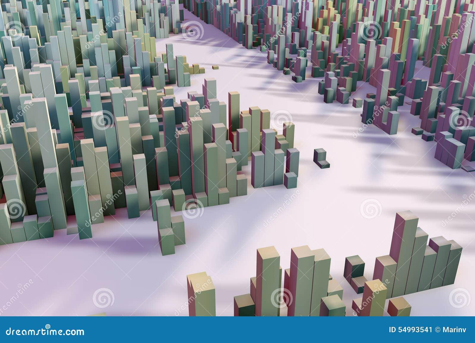 的立方体专栏的五颜六色的领域组成抽象个体
