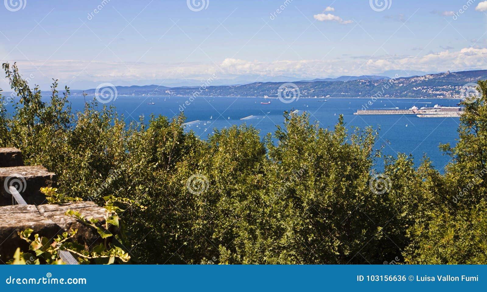 的里雅斯特夏天视图海湾