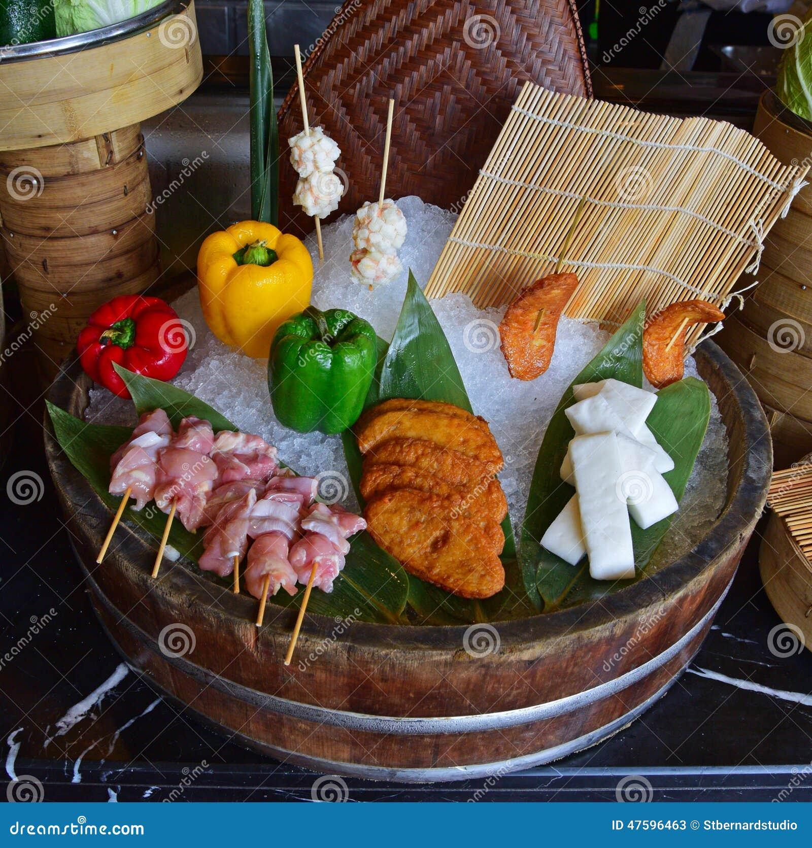 介绍的食物安排在旅馆自助餐餐馆