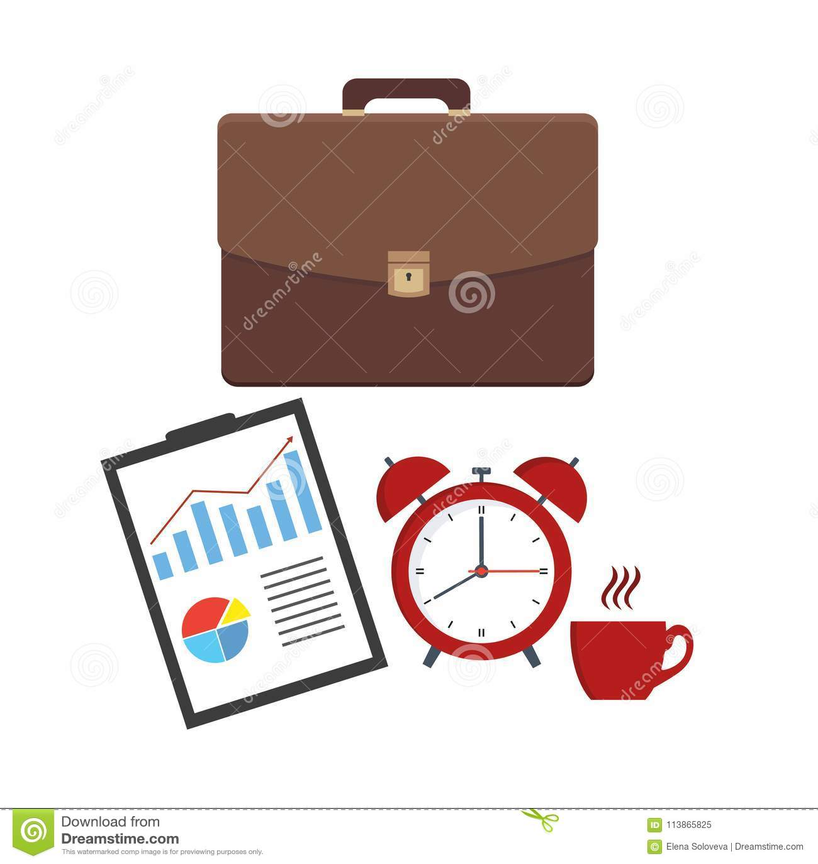 皮革企业公文包和文件板料 办公室合同,协议,报告 请求与docs和形式和闹钟机智