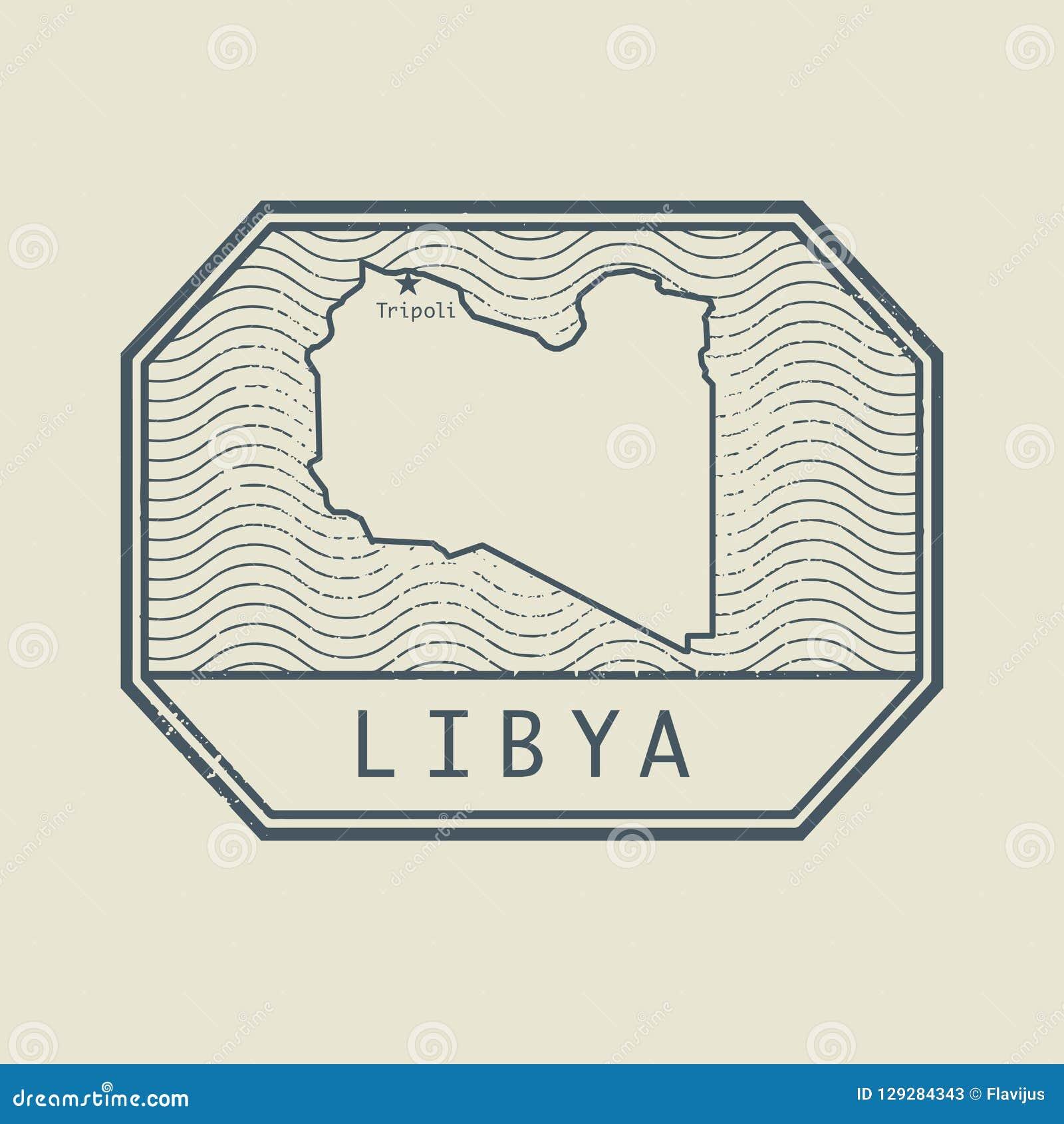 盖印与利比亚的名字和地图