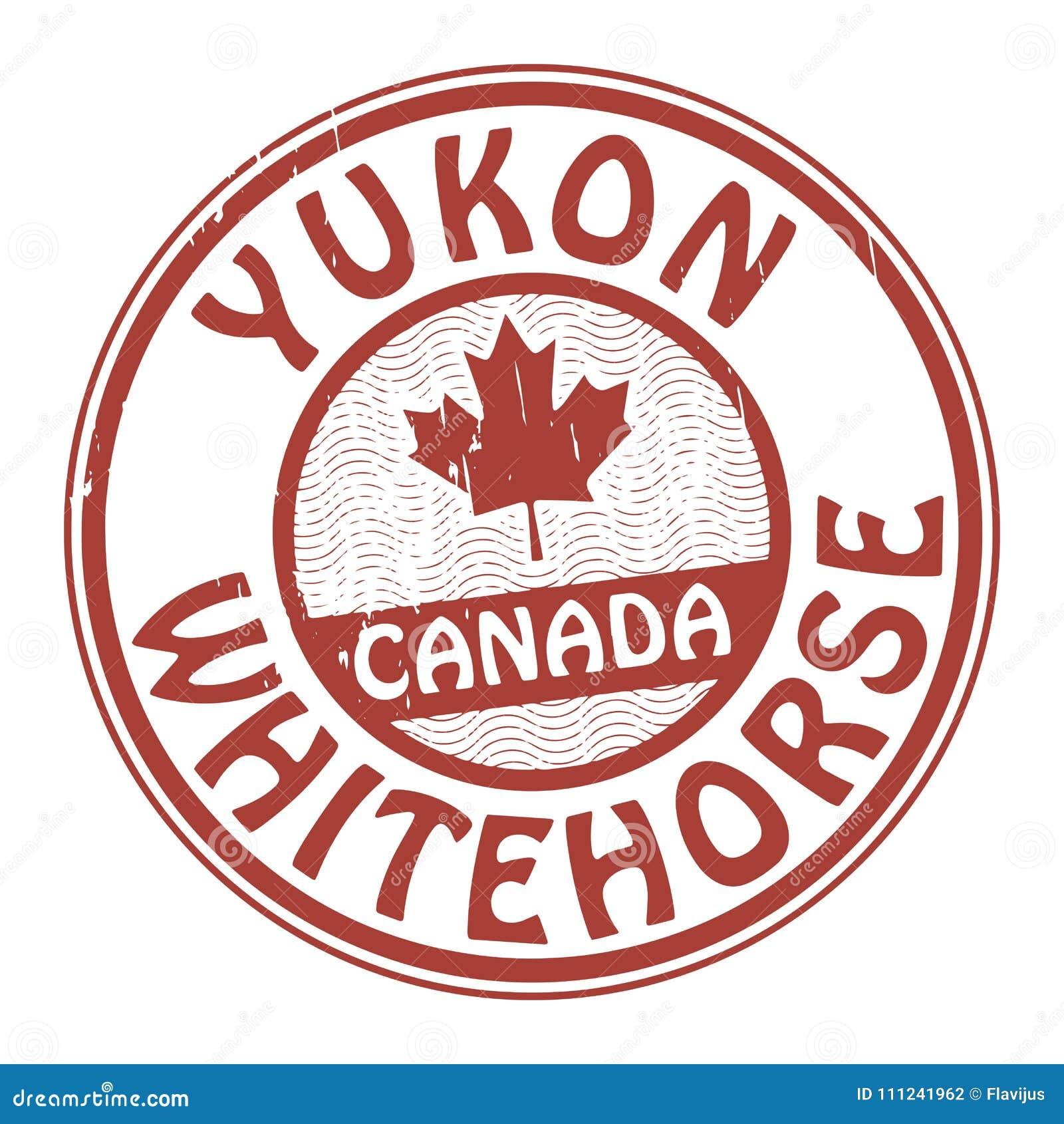 盖印与加拿大、育空和Whitehorse的名字
