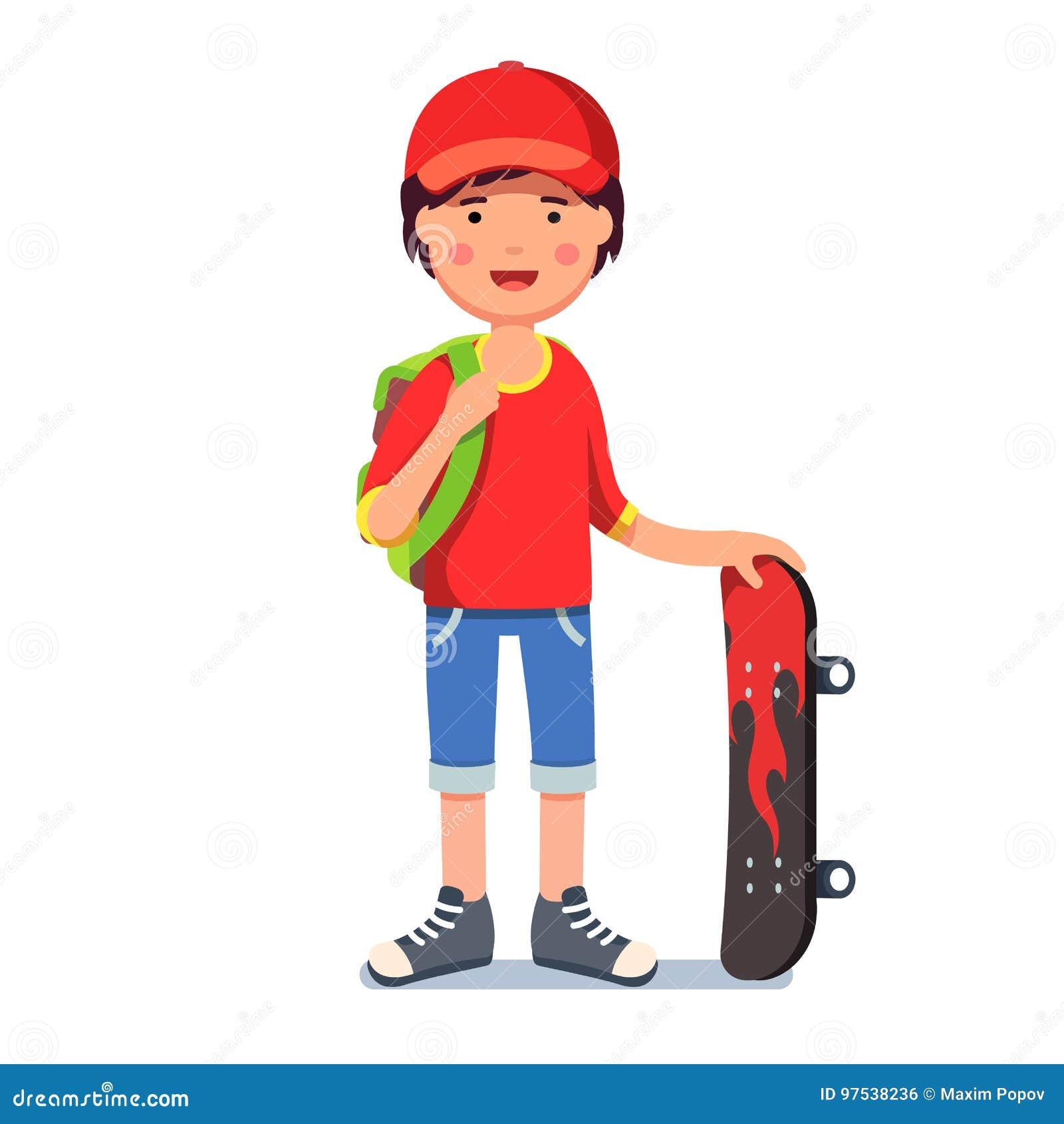盖帽的青少年的孩子男孩有背包和滑板的