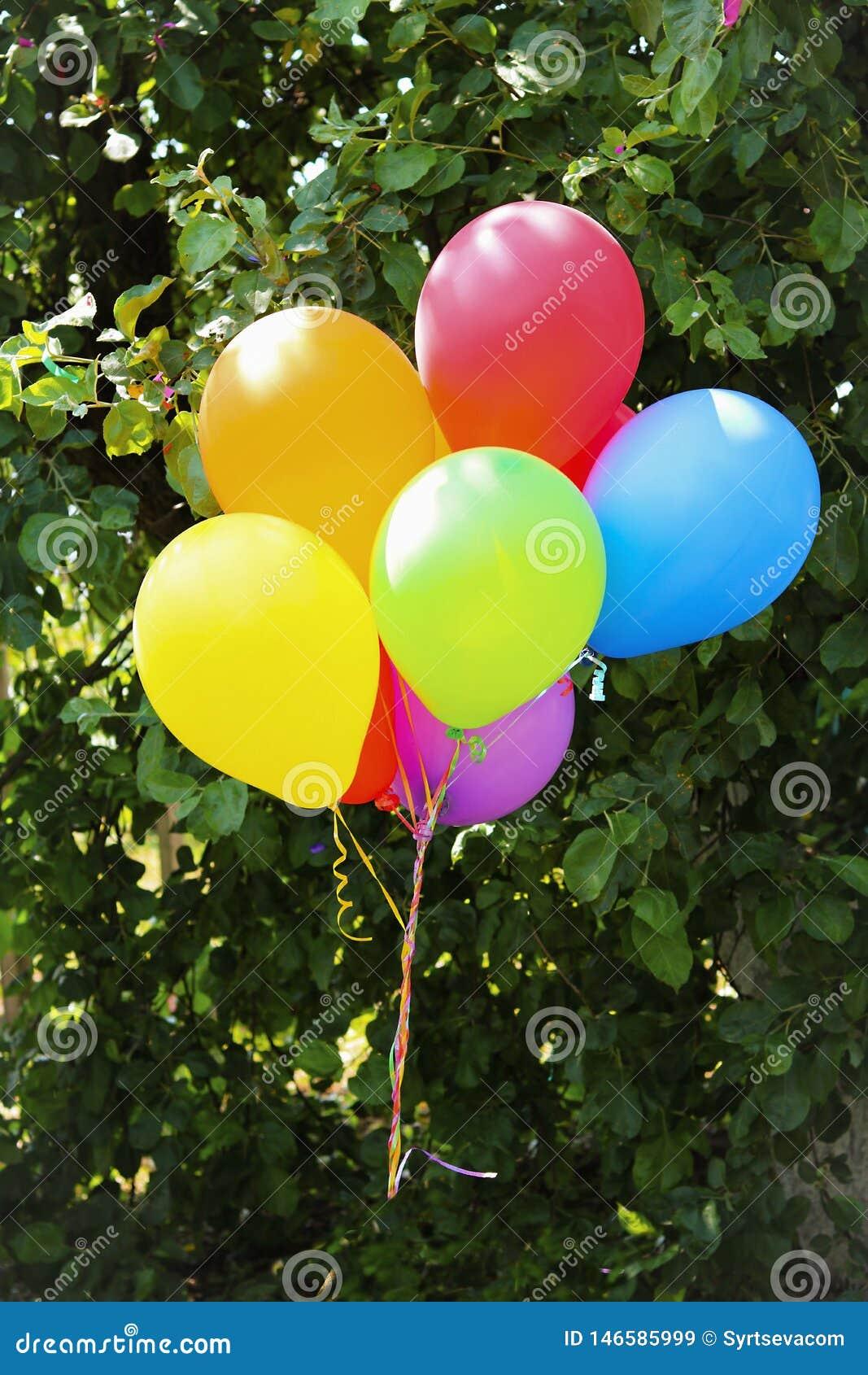 盘旋在绿色叶子背景的许多色的气球特写镜头