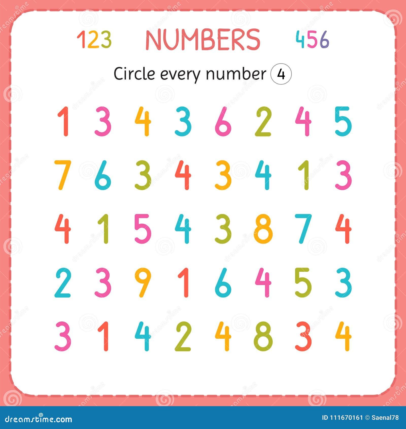 盘旋每第四 孩子的数字 幼儿园和幼儿园的活页练习题 写和计数数字的训练 exercis