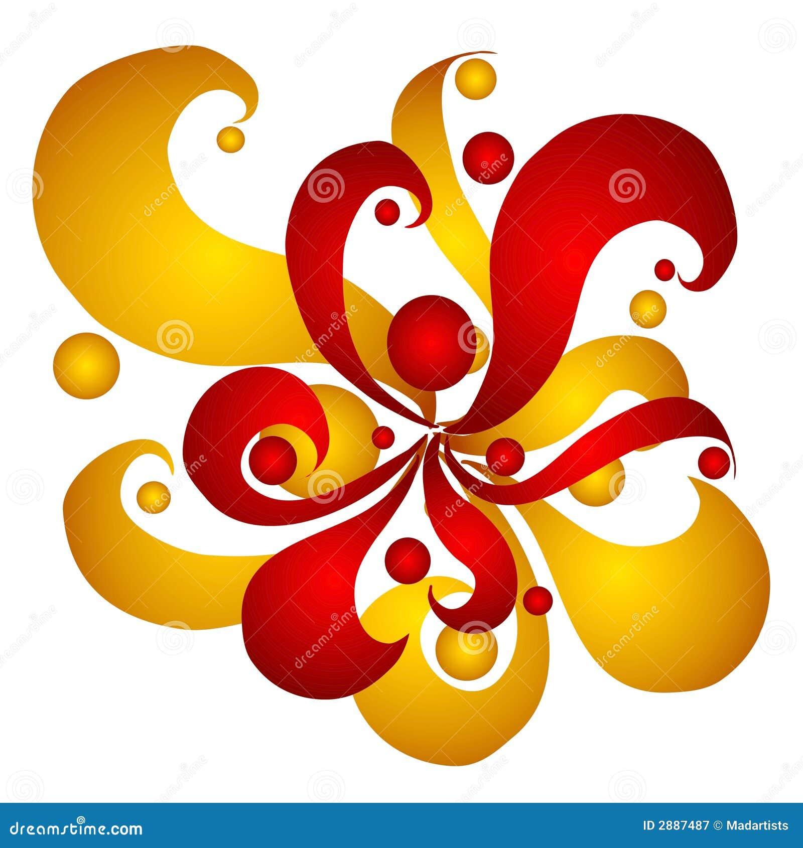 盘旋金子红色漩涡