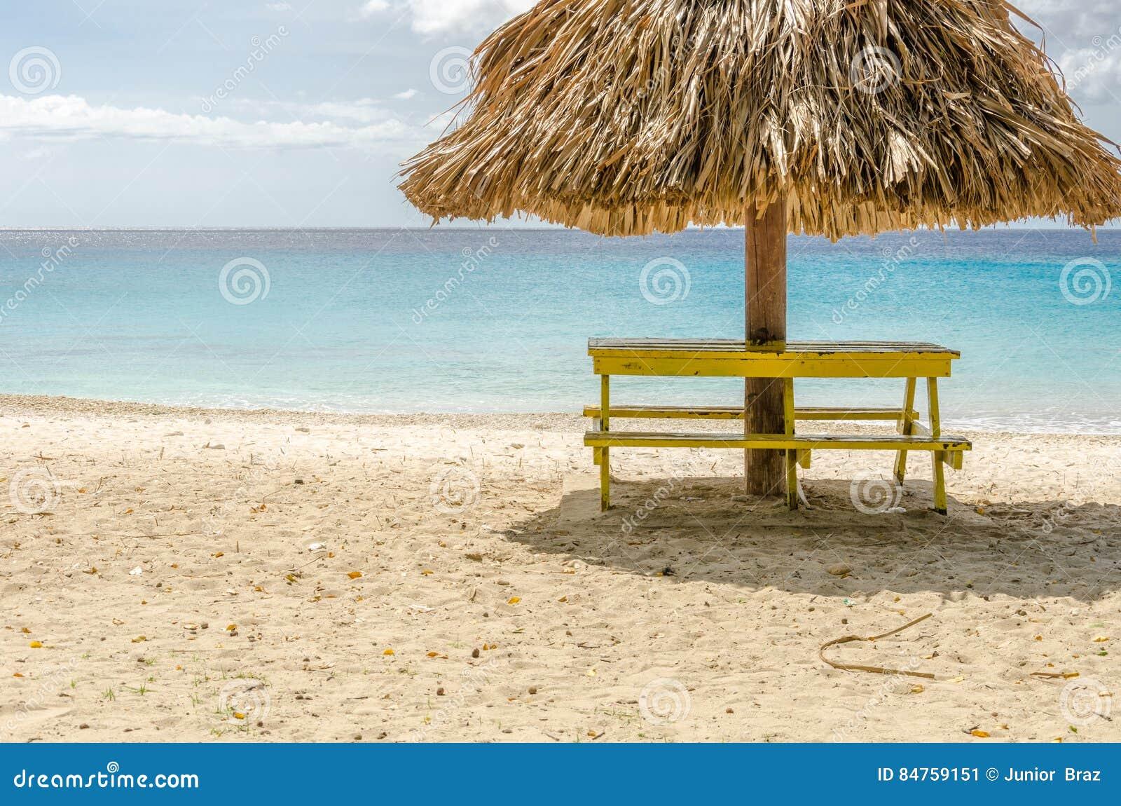 盛大Knip海滩在荷兰安的列斯的库拉索岛