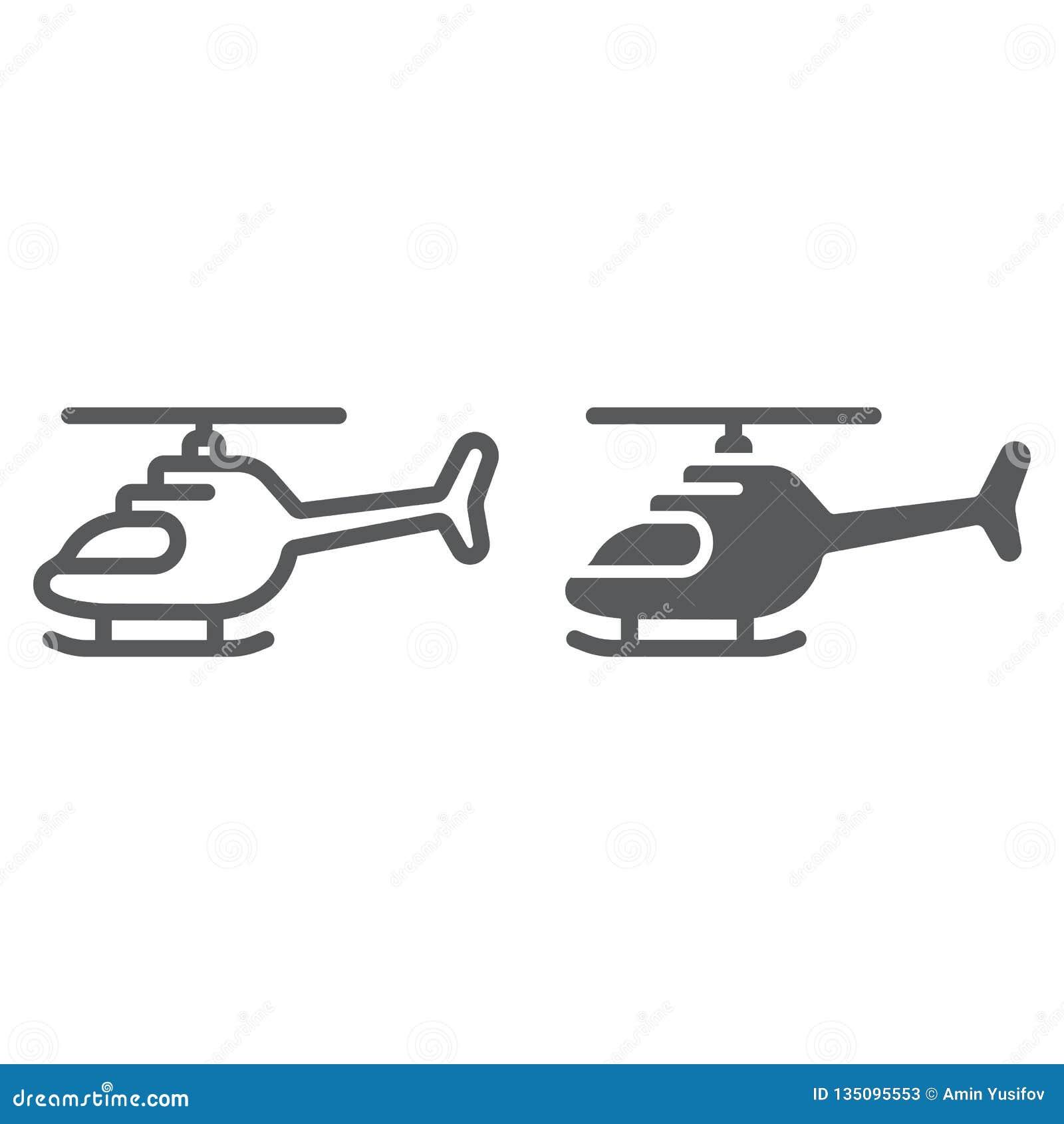 直升机线和纵的沟纹象、运输和砍刀,飞机标志,向量图形,在白色的一个线性样式