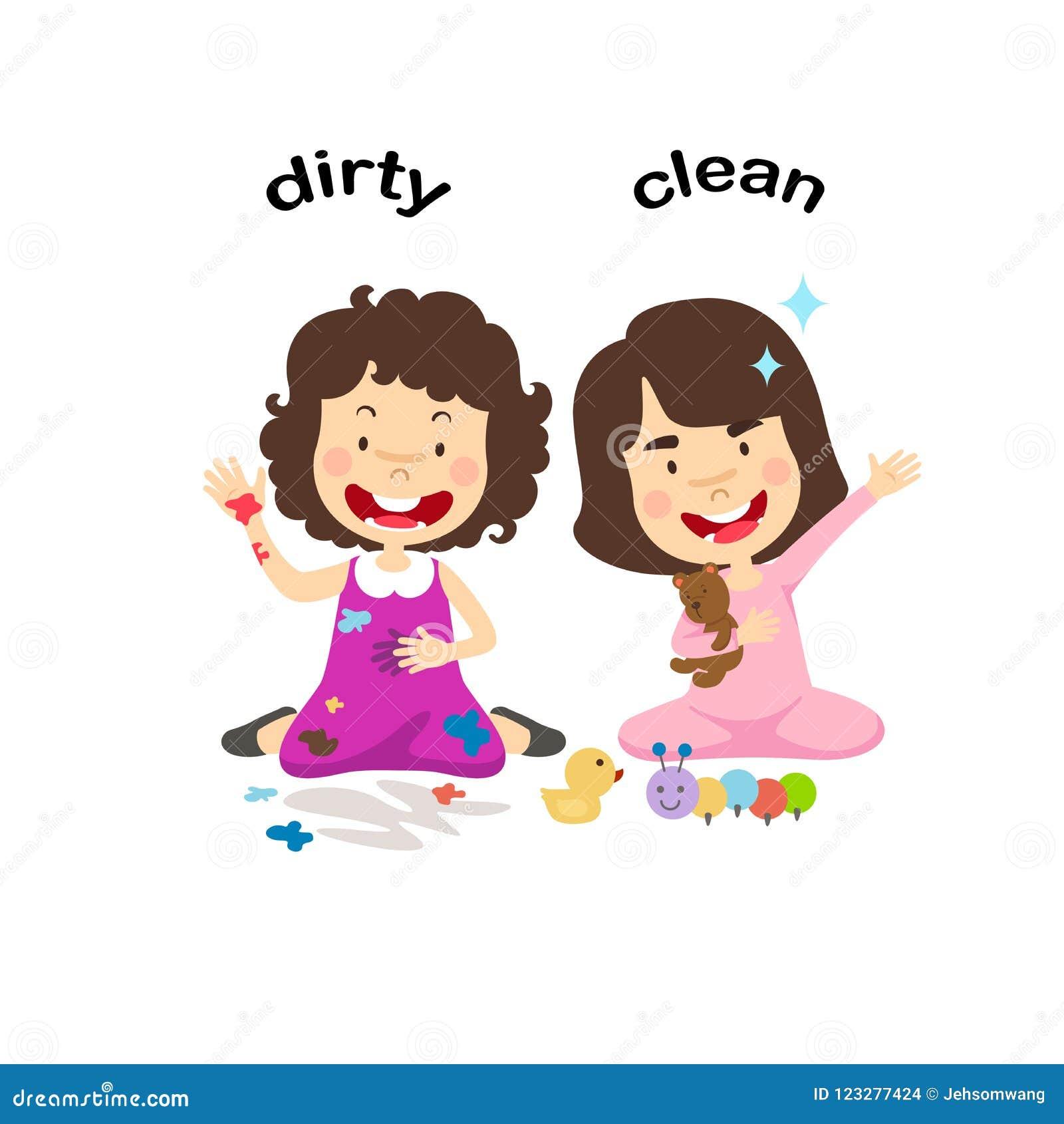 相反肮脏和干净