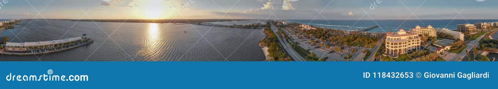相当大厦价值的湖和海岸线在棕榈滩,佛罗里达