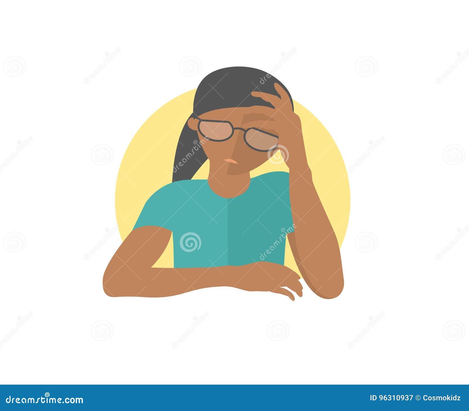 相当沮丧的玻璃的黑人女孩,哀伤,微弱 平的设计象 妇女激动衰弱消沉 完全编辑可能的孤立