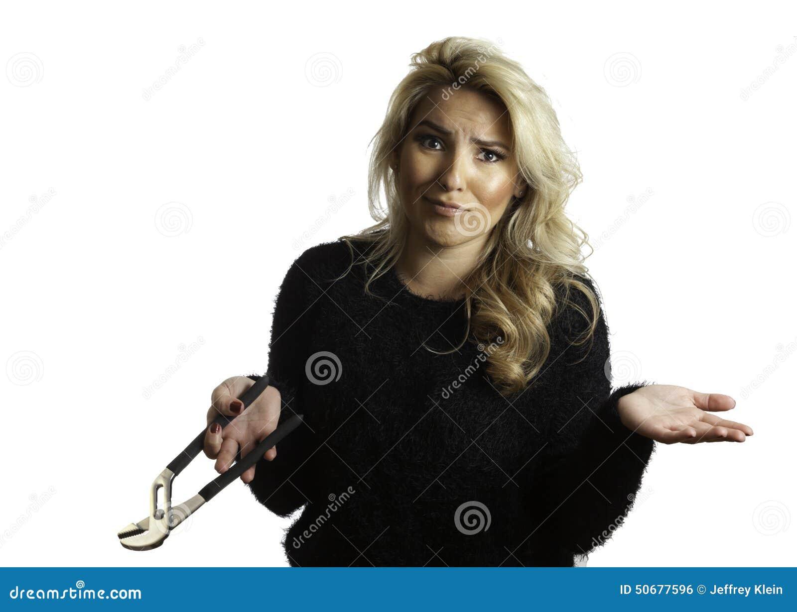 Download 相当钳子她报的藏品迷惑的白肤金发的拉提纳女孩 库存照片. 图片 包括有 威逼, 建筑, 山毛榉, 现有量 - 50677596