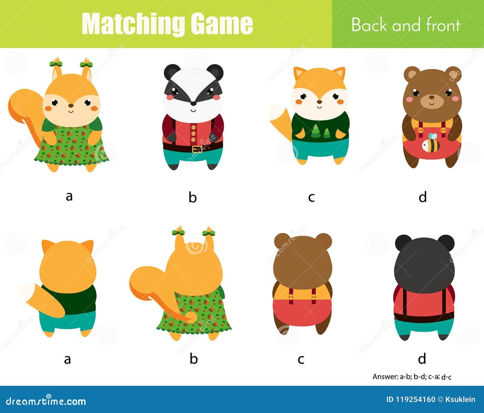 相配的比赛 与逗人喜爱的动物的教育儿童活动 学会和前面