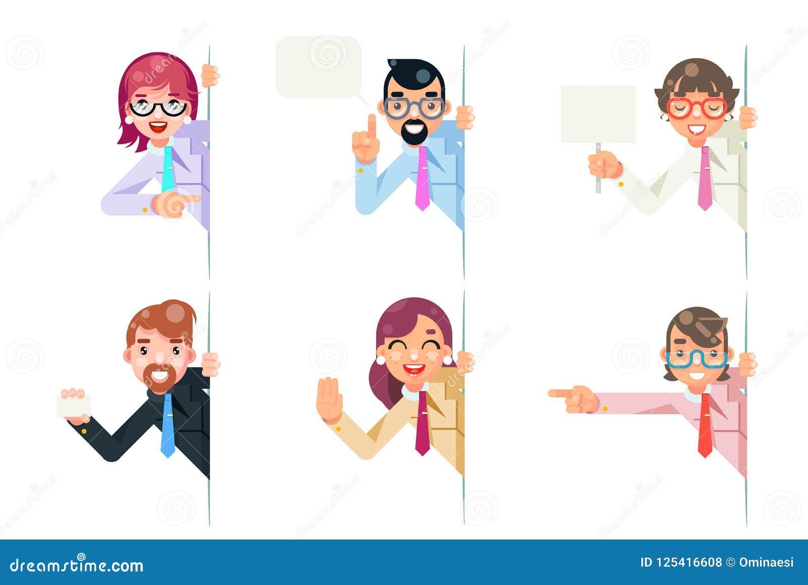 看壁角字符的被隔绝的办公室工作者动画片支持帮助企业咨询忠告设置了平的设计