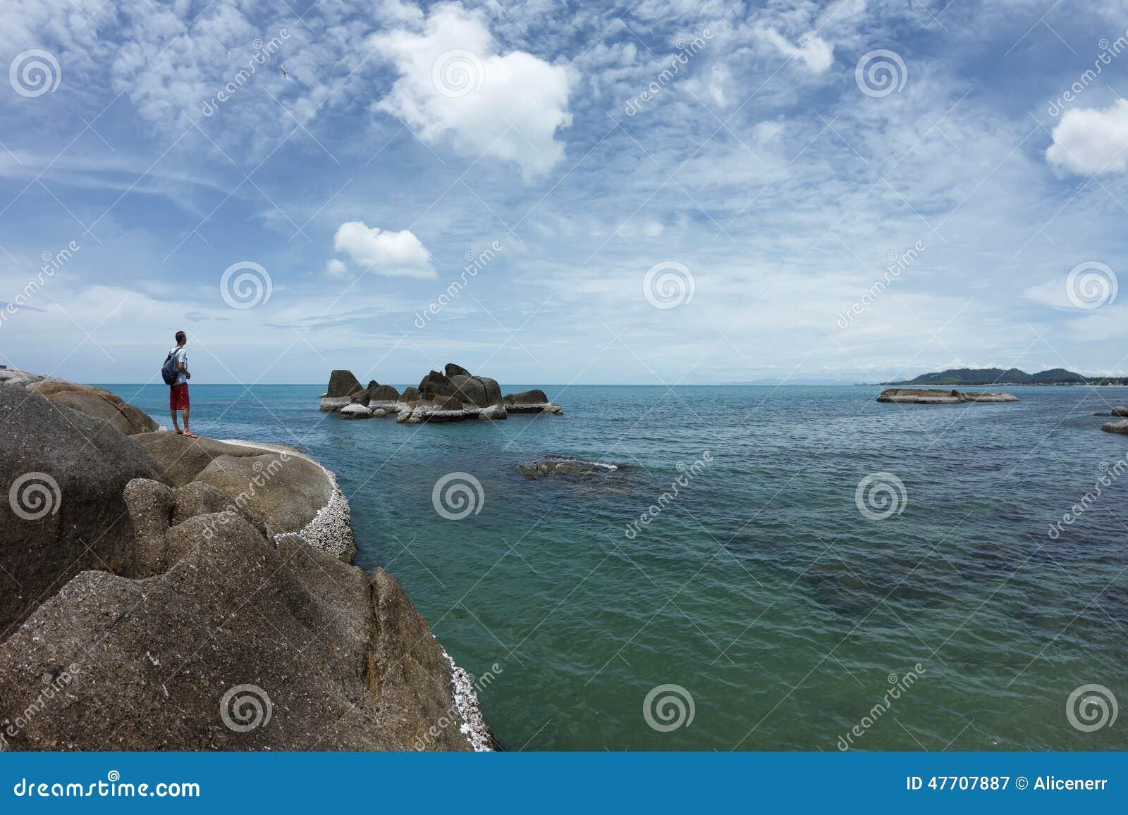 看对从岩石的海边的人