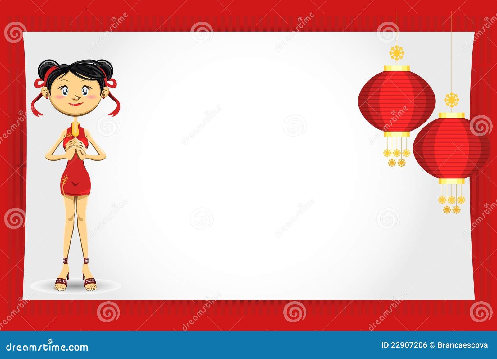 看板卡中国女孩招呼的新年度