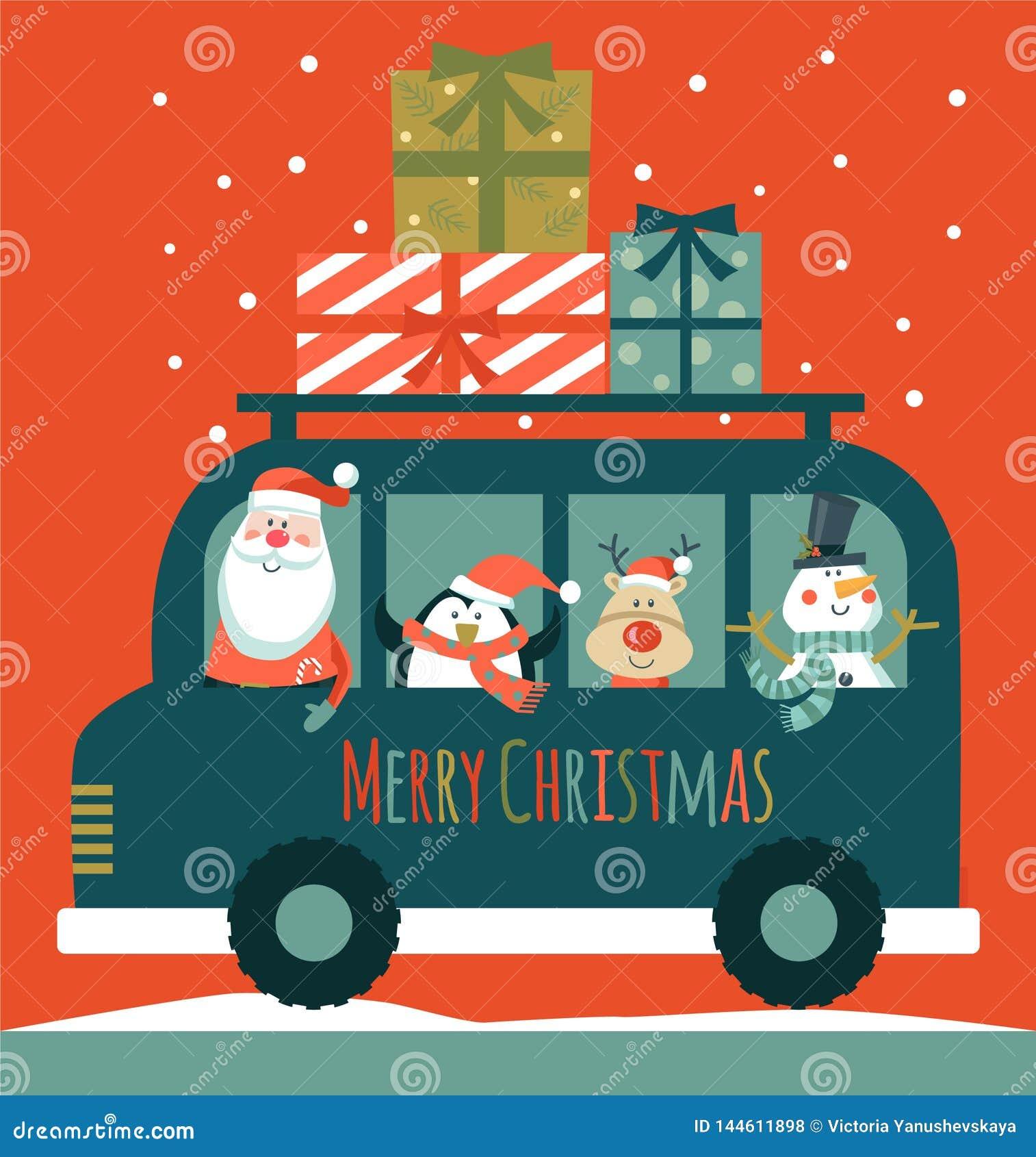 看板卡圣诞节圣诞老人 雪人、鹿和企鹅 E