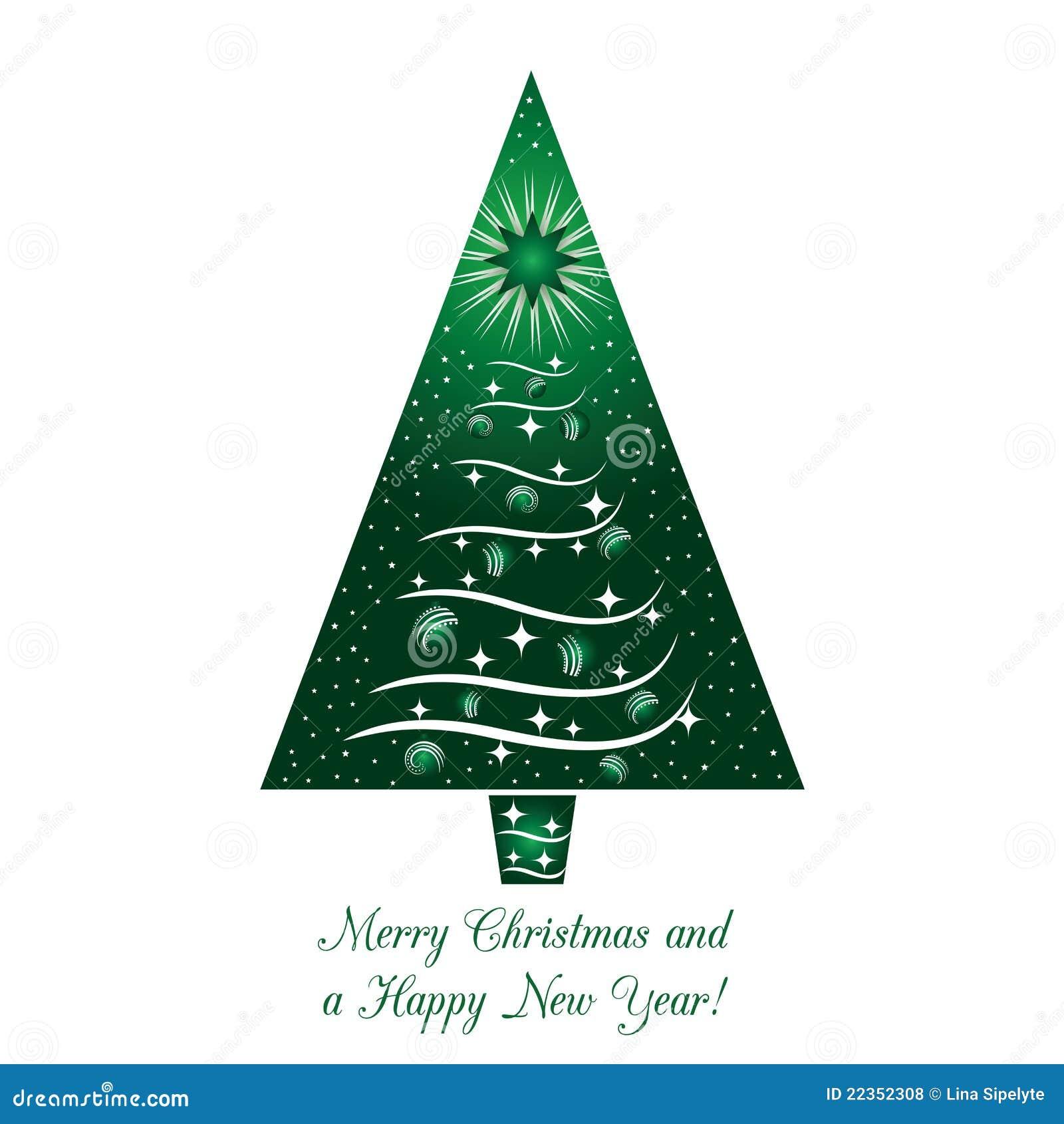 看板卡圣诞节绿色问候结构树